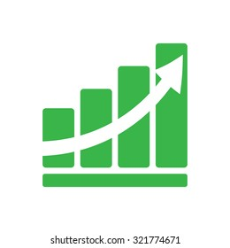 Graph green color arrow growth  flat style