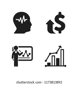 graph icon. 4 graph vector icons set. money increase, cardiogram and businessman with statistics on whiteboard icons for web and design about graph theme