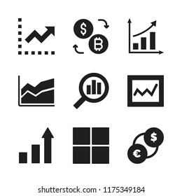 graph icon. 9 graph vector icons set. business graphic, graphic of stats and ascending bars graphic with up arrow icons for web and design about graph theme