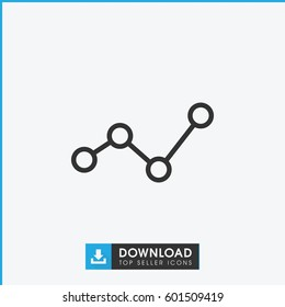 graph icon. simple outline graph vector icon. on white background.