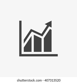Icône de graphe dans le style à la mode à plat isolée sur fond gris. Symbole de la barre de graphique pour la conception, le logo, l'application, l'interface utilisateur de votre site Web. Illustration vectorielle, EPS10.