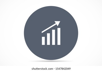 Graph Icon vector in trendy flat style isolated on gray background. Chart bar symbol for your web site design,Graph Icon vector logo, app, UI Growing bar graph icon in flat style. Graph Icon vector
