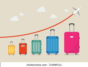 Graph increase in the number of tourists traveling. Vector illustration