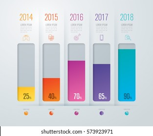 Graph infographics design vector and marketing icons can be used for workflow layout, diagram, annual report, web design. Business concept with 5 options, steps or processes.