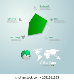 Eco Friendly Concepteco Friendly Renewable Energy Stock Vector