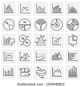 Graph line icons set on squares background for graphic and web design. Simple vector sign. Internet concept symbol for website button or mobile app