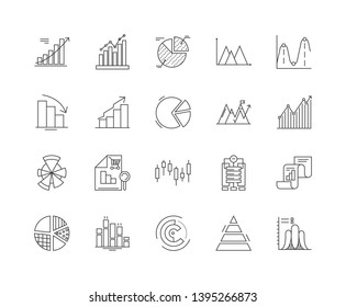 Graph line icons, signs, vector set, outline illustration concept