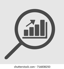 Graph and magnifying glass. Business data analysis vector icon eps 10.