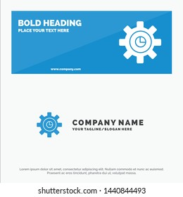 Graph, Marketing, Gear, Setting SOlid Icon Website Banner and Business Logo Template