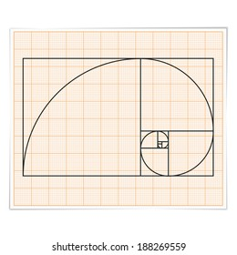 Graph paper with golden ratio, vector eps10 illustration