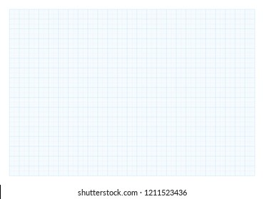 Graph paper sheet with blue pattern on transparent background and soft shadow. Vector illustration.