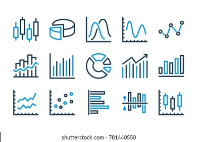 Graph related line icons. Vector icon set.
