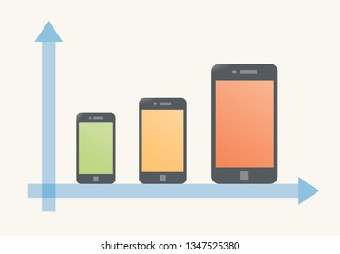 Graph showing changing mobile phones size evolution and screen diagonal from small to big during time. Concept - innovations and trends in tech industry