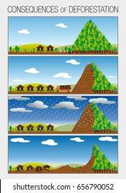 Graph shows in 4 steps the consequences of deforestation of forests that cause landslides - Vector image