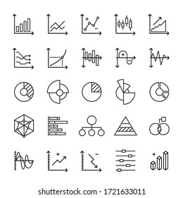 Graph and Statistics diagram 25 line icons vector