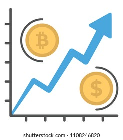 A graph with stock arrow comparing exchange rates for digital and conventional currency an icon to depict  offering usd vs bitcoin rate