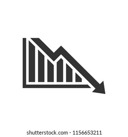 Graph trending downwards, Arrow pointing down on graph, Vector illustration