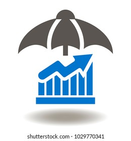 Graph Umbrella Icon Vector. Bumbershoot Growing Chart Illustration. Risks Management Safety Security Protection Business Finance Logo Symbol.