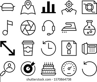 graph vector icon set such as: human, interview, test, seat, laboratory, bakery, write, ear, competition, down, stereo, drawing, fast, school, banner, magnifier, data, birthday, stroke, quaver, cycle