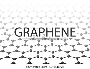 Graphene 3D Carbon lattice. Black graphene on white background. Abstract background. Graphene structure for Your business project. Vector Illustration