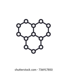 graphene, atomic carbon structure vector icon on white