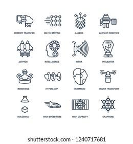 Graphene, High capacity color barcode, speed tube, Hologram, Hover transport, Memory transfer, Jetpack, Immersive, Infra outline vector icons from 16 set