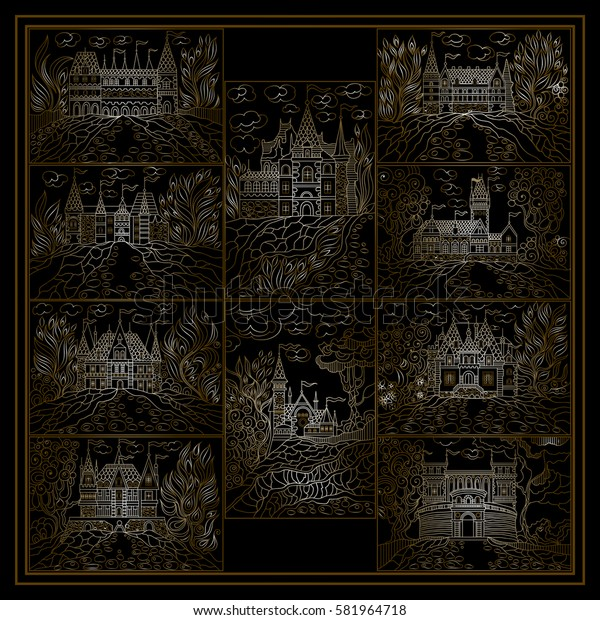 Graphic abstract decorative fantasy landscape (fairy tale castle, old medieval town, park trees). Suitable for invitation, flyer, sticker, poster, banner, card,label, cover, web. Vector illustration.