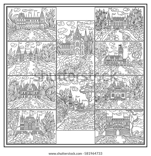 Graphic abstract decorative fantasy landscape(fairy tale castle, medieval town).Coloring book page.Suitable for invitation, flyer, sticker, poster, banner, card,label, cover, web. Vector illustration.