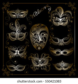Graphic abstract decorative mask (symbol of the carnival in Venice)-set. Suitable for invitation, flyer, sticker, poster, banner, card,label, cover, web. Vector illustration.