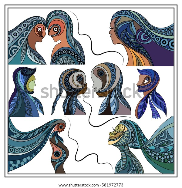 Graphic abstract decorative silhouettes of people-set. Suitable for invitation, flyer, sticker, poster, banner, card,label, cover, web. Vector illustration.