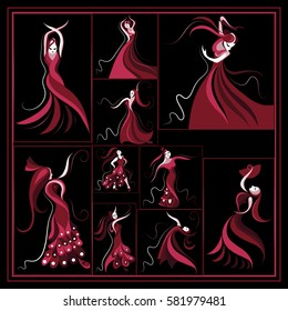 Graphic abstract decorative Spanish girl in a red dress dancing flamenco-set.Suitable for invitation, flyer, sticker, poster, banner, card,label, cover, web. Vector illustration.