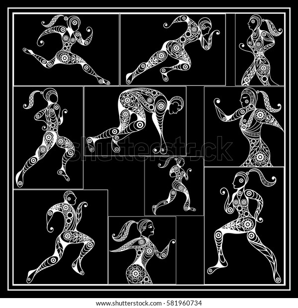 Graphic abstract decorative sport runner (athlete)-set. Suitable for invitation, flyer, sticker, poster, banner, card,label, cover, web. Vector illustration.