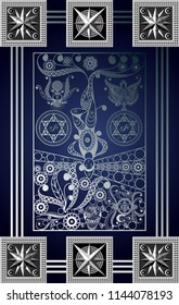 Graphic abstract design with occult tarot card. Major Arcana - The Hanged Man (The Traitor). Suitable for invitation, flyer, sticker, poster, banner, card, label, cover, web. Vector illustration.