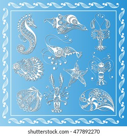 Graphic abstract sea creatures in line art style (set, kit). Suitable for invitation, flyer, sticker, poster, banner, card, label, cover, web. Vector illustration.
