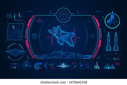 graphic of air fighter with missile launcher interface
