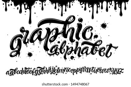 Graphic Alphabet. Hand Drawn Typeface with Grunge Paint Effect for a Logo, Cards, Invitations, Posters, Banners. Vector Illustration.
