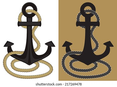 Graphic anchor and rope in flat colors.