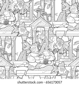Graphic aquarium fish with architectural sculpture drawn in line art style. Vector seamless pattern. Coloring book page design for adults and kids.