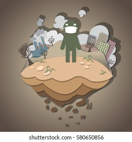 Graphic art of  bad condition earth, pollution  in paper cut style , ecology concept illustration