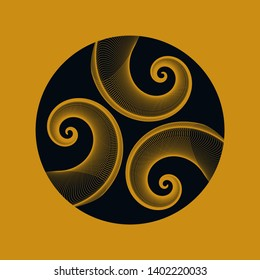graphic astral symbol with three spirals in gold and black shades