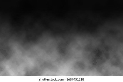 Graphic background of realistic smoke and dust on a black background. Vector illustration