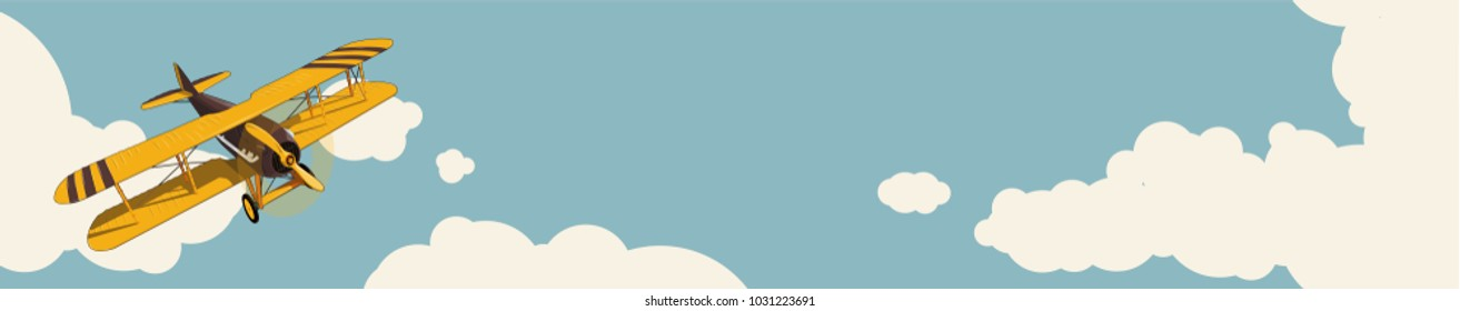 Graphic background. Yellow plane flying over sky with clouds, vintage color stylization. Old retro biplane design, poster printing. Vector low poly airplane illustration. Horizontal web banner layout.