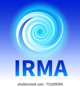 Graphic banner of hurricane Irma. Icon / sign / symbol of the Hurricane