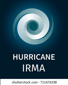 Graphic banner of hurricane Irma. Icon, sign or symbol of the hurricane, vortex, tornado
