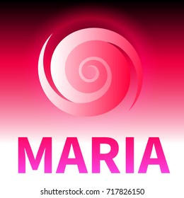 Graphic banner of hurricane Maria. Icon / sign / symbol of the hurricane, vortex, tornado