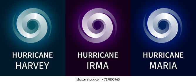 Graphic banner of hurricanes Harvey, Irma, Maria. Icon / sign / symbol of the hurricane, vortex, tornado