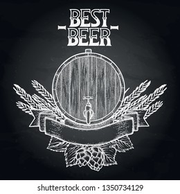 Graphic barrel of beer over the vintage ribbon decorated with hops and malt drawn in engraving technique. Vector oktoberfest design isolated on the chalkboard