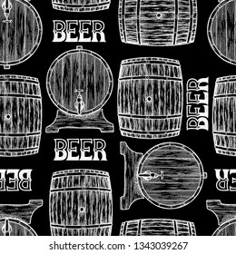 Graphic barrels of beer in the front and side views. Vintage vector seamless pattern drawn in engraving technique