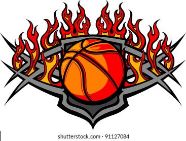 Graphic Basketball Ball vector image template with flames