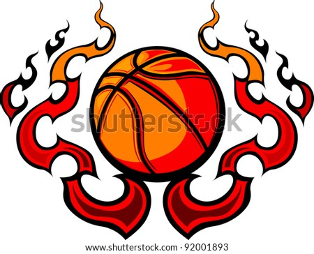 Graphic Basketball Vector Image Template Flames Stock Vector